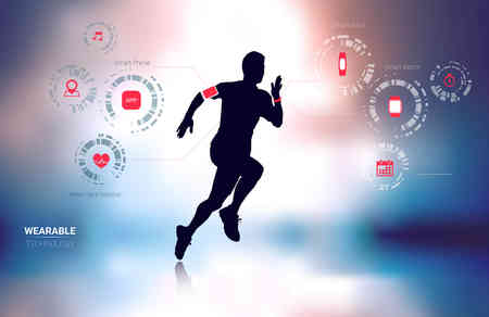 Illustration pour Wearable technology fitness tracker, smart phone, heart rate monitor and smart watch with man running silhouette in blur background - image libre de droit