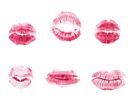 Photo pour red lipstick kiss isolated on white background - image libre de droit