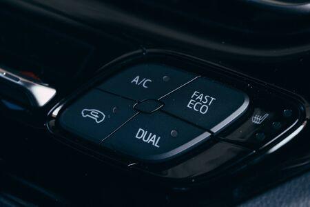 Photo pour car interior - devices, the concept of driving  Modern car interior details  button air conditioner - image libre de droit