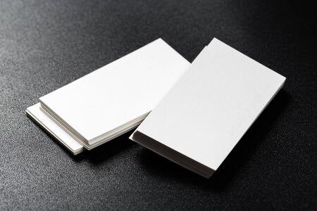 Photo pour Mockup of business cards at dark background. - image libre de droit