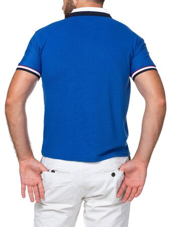Photo pour blank color t-shirt on man (back side) isolated on white background - image libre de droit