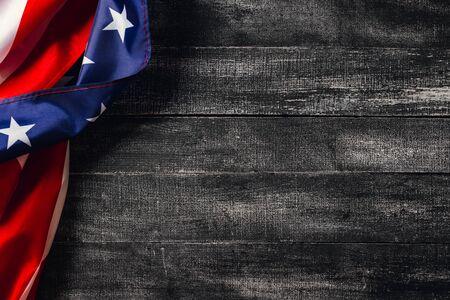 Photo pour American flag on dark background. Flag Veterans Day Concept - image libre de droit