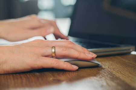 Photo for hands of women who use laptop keyboard Concept of email delivery and online technology usage - Royalty Free Image
