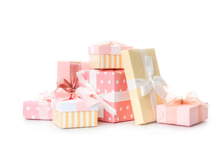 Photo pour set of beautiful handmade gift boxes with pink ribbons - image libre de droit