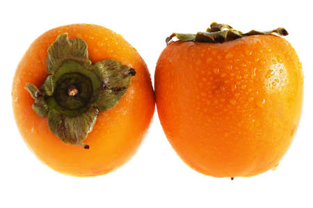 two persimmons isolated