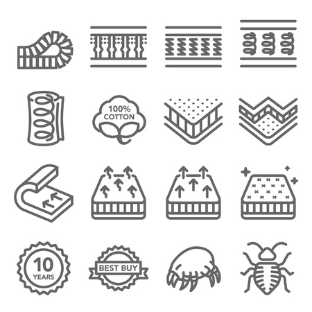 Illustration pour Mattress Vector Line Icon Set. Contains such Icons as Cotton, Dust mite, Bed Bug, Bed layer Inside and more. Expanded Stroke - image libre de droit