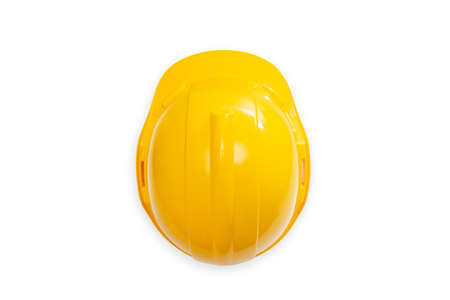 Photo pour top view of  construction hard hat  safety helmet used in workplace environments such as industrial or construction sites to protect head from injury due to falling objects - image libre de droit
