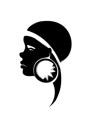 Painted a portrait of a young African woman, with decoration in the ear