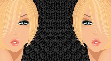 Fashion illustration with blonde girls