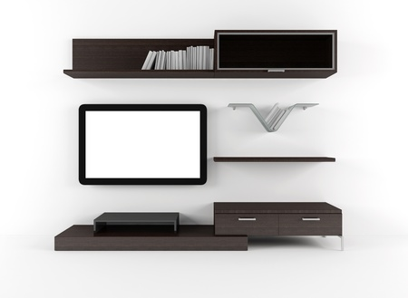 Living room with cabinet shelves and lcd tv