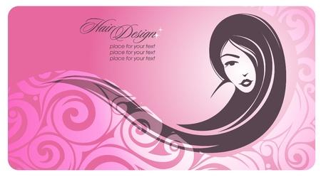 Long-haired girl  Vector illustration