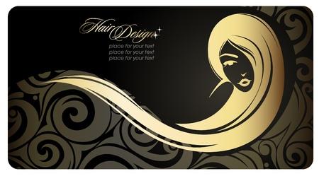 Golg girl with long hair   Fashion illustration   Eps10