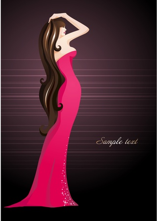 Sexy girl in an elegant dress_Fashion illustration
