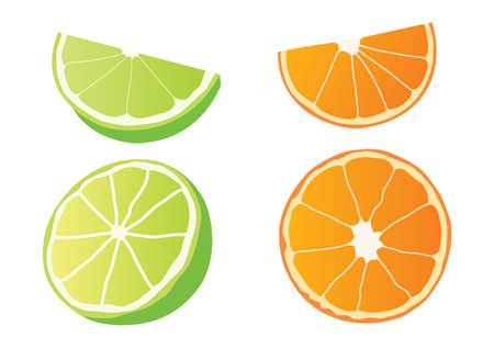 Illustration for lemon and orange half ball on white background  illustration Vector - Royalty Free Image