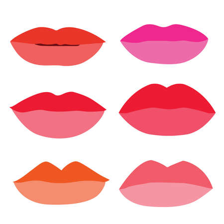 mouth Lips close up Design element isolated collection Stylish colorful different shades of lipstick Beauty Make up expressing different emotions art paint on white background  illustration  Vector