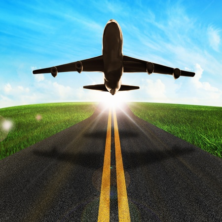 long road and plane in beautiful nature