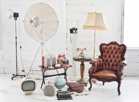 retro furniture and decoration in white roomの写真素材