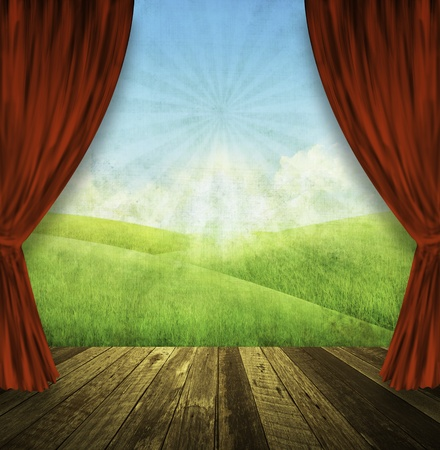 theater stage with red curtains and spring summer background