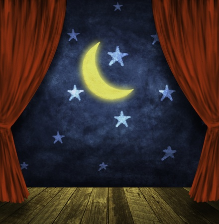 Foto de theater stage with red curtains and night sky,stars ,moon background  - Imagen libre de derechos