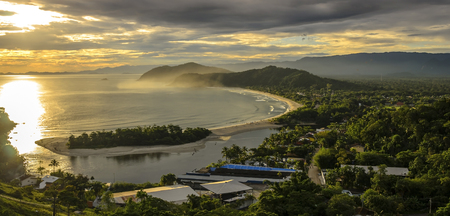 Spectacular sunset on the Barra do Una beach on the coast of the state of Sao Paulo , Brazil