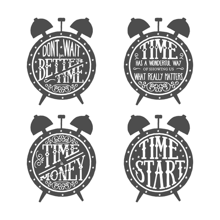 Illustration pour Time quotes lettering set, typographic Art for Poster Print Greeting Card T shirt apparel design, hand crafted vector illustration. Made in vintage retro style. - image libre de droit