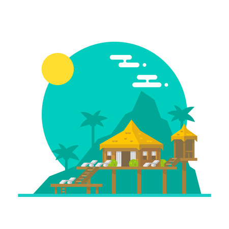 Illustration pour Flat design of beach villa illustration vector - image libre de droit