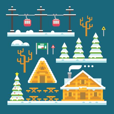 Winter ski resort flat design illustration vector
