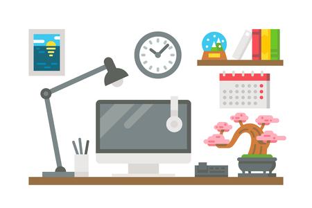 Illustration pour Flat design working desk decor illustration vector - image libre de droit