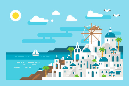 Flat design santorini cityscape view illustration vector