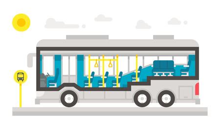 Illustration for Flat design bus interior infographic illustration vector - Royalty Free Image