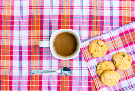 coffee and cookies on loincloth cotton