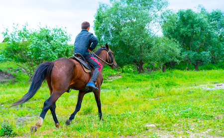 Photo for A boy rides on the ground riding a horse - Royalty Free Image