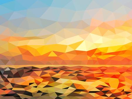 Illustration pour Orange twilight beach on polygon design. - image libre de droit