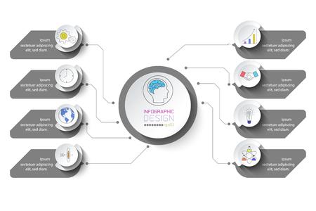 Ilustración de Business infographic with 8 steps. - Imagen libre de derechos