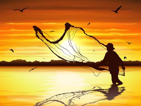 Ilustración de Silhouette of man catching the fish in twilight. - Imagen libre de derechos
