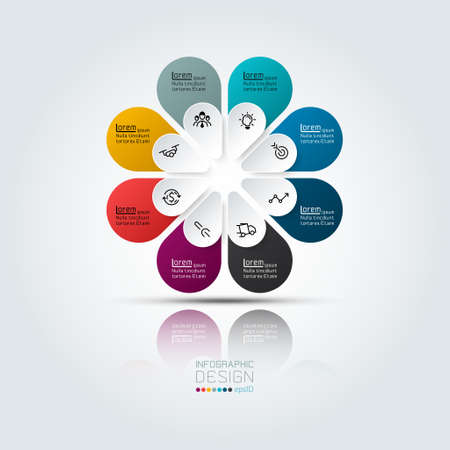 Illustration pour Colorful infographic 8 options with oval shape in circle. - image libre de droit