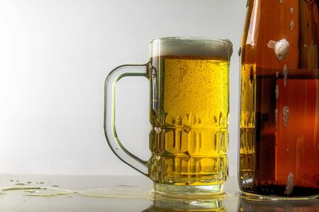 Photo for Beer and glasses for beer Gray white background - Royalty Free Image