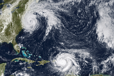 Photo pour Hurricane Maria and Jose. Elements of this image furnished by NASA - image libre de droit