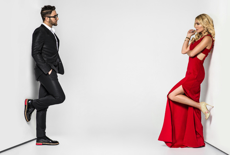 Photo for portrait of a young fashion couple looking into the camera - Royalty Free Image