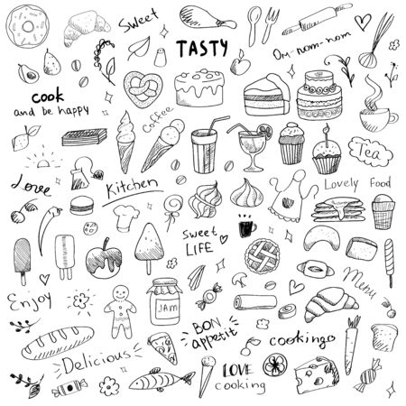 Illustration pour Vector set of doodle sketch illustrations of sweet food. Sweet dessert and food art elements for kitchen or menu. Ice cream, bakery, lolly pop, cake, tea, chocolate, honey, donut, croissant, pancakes and writings, hand drawn - image libre de droit