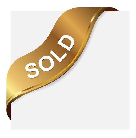 Photo pour Golden tag label for sold item - image libre de droit