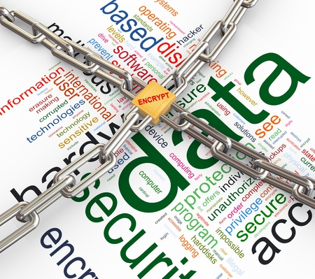 Photo pour Data protected by chain and padlock on background of   - image libre de droit