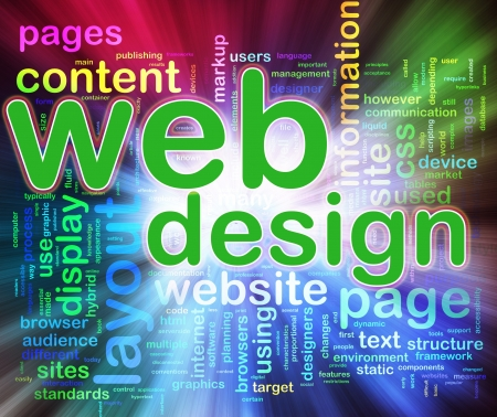 Abstract background of words in a wordcloud of web design. Concept of web designing.