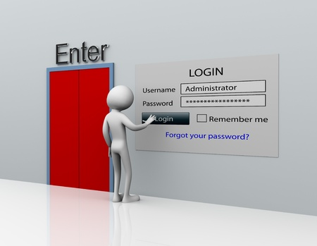 Photo pour 3d man secure login with administrator ID and password - image libre de droit