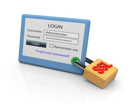 Photo pour Concept of secure website login using SSL protocol - image libre de droit