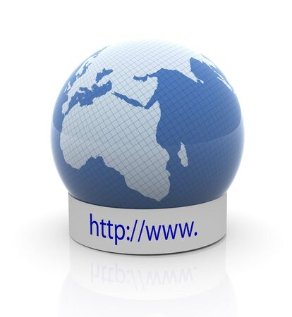 3d render of globe with http://www text