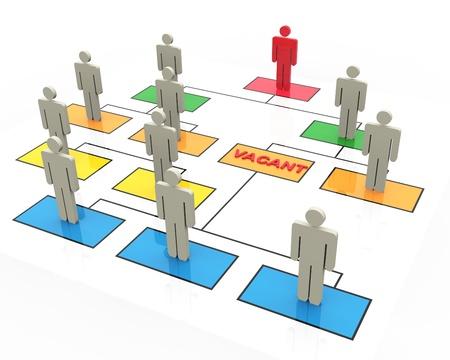 Foto de 3d render of open position in organizational chart - Imagen libre de derechos