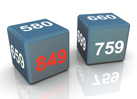 3d render of two cubes with credit score. Highest rate score is in red color