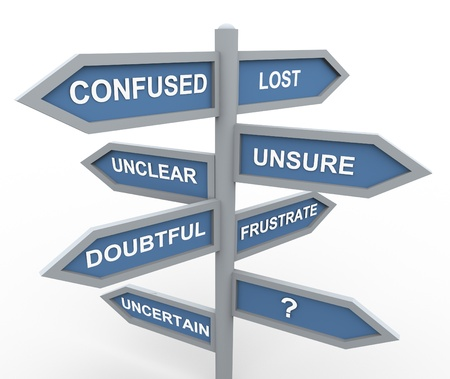 Photo pour 3d road sign of various words related to confusion during making decision  - image libre de droit