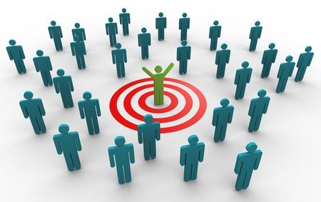 Photo pour 3d man successfully achieved his target. Concept of goal achievement. - image libre de droit